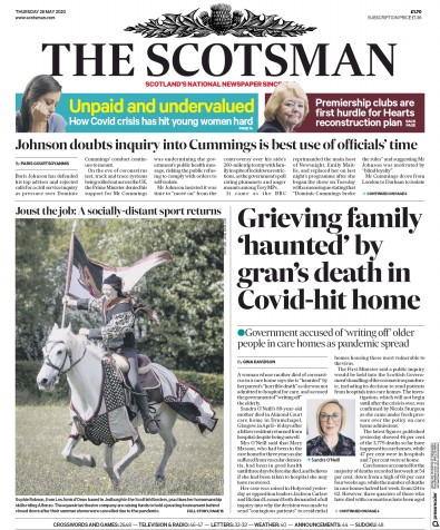 The Scotsman Newspaper Front Page (UK) for 28 May 2020