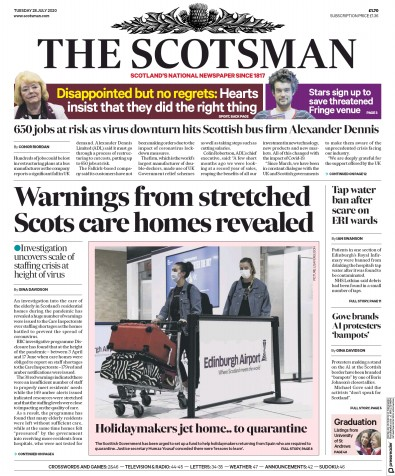 The Scotsman Newspaper Front Page (UK) for 28 July 2020
