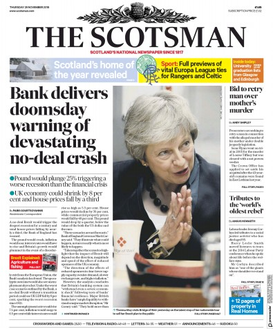 The Scotsman Newspaper Front Page (UK) for 29 November 2018