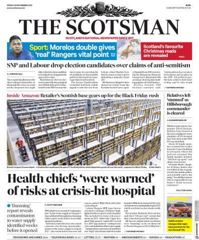 The Scotsman Newspaper Front Page (UK) for 29 November 2019