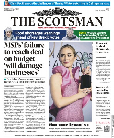 The Scotsman Newspaper Front Page (UK) for 29 January 2019