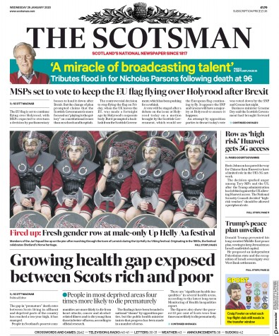 The Scotsman Newspaper Front Page (UK) for 29 January 2020