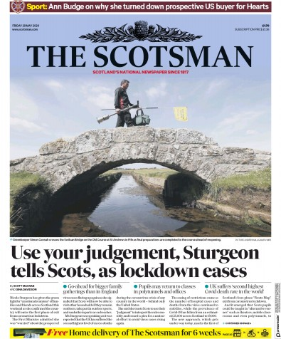 The Scotsman Newspaper Front Page (UK) for 29 May 2020