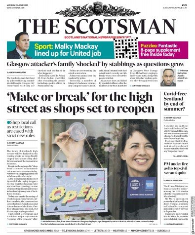The Scotsman Newspaper Front Page (UK) for 29 June 2020