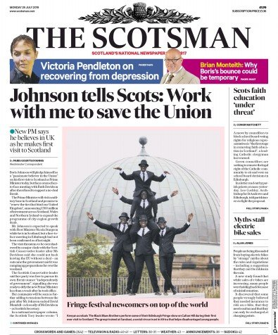 The Scotsman Newspaper Front Page (UK) for 29 July 2019