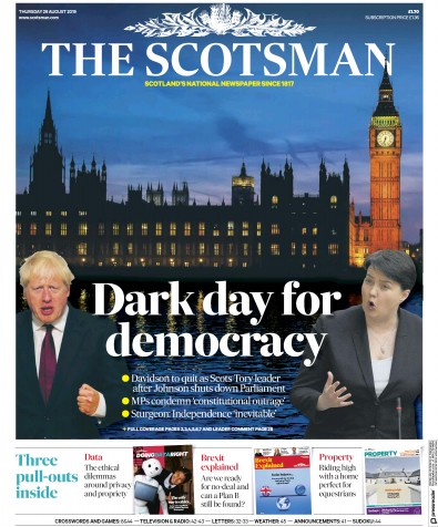 The Scotsman Newspaper Front Page (UK) for 29 August 2019