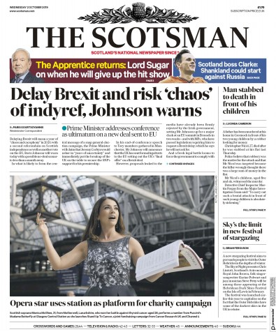 The Scotsman Newspaper Front Page (UK) for 2 October 2019