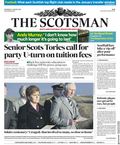 The Scotsman Newspaper Front Page (UK) for 2 January 2019