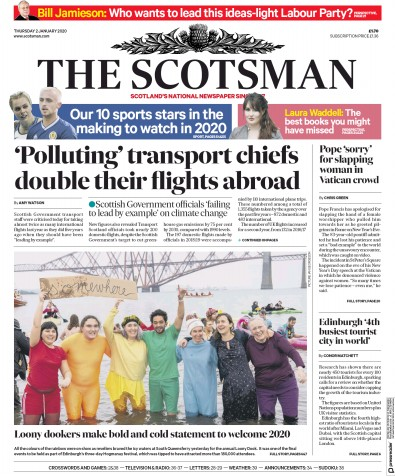 The Scotsman Newspaper Front Page (UK) for 2 January 2020
