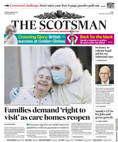 The Scotsman Newspaper Front Page (UK) for 2 March 2021