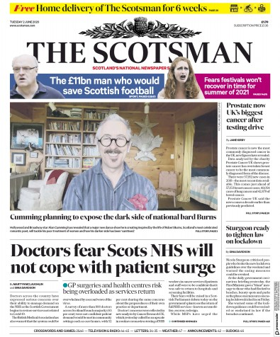 The Scotsman Newspaper Front Page (UK) for 2 June 2020