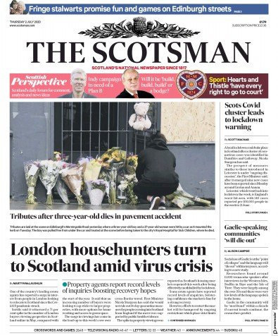 The Scotsman Newspaper Front Page (UK) for 2 July 2020
