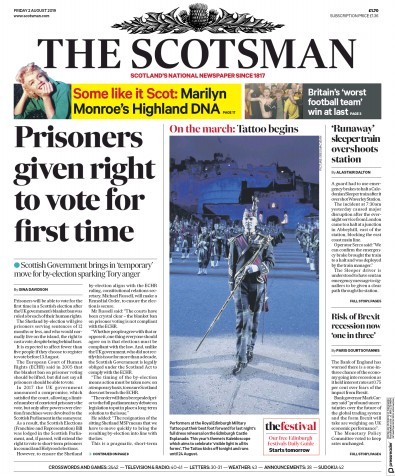 The Scotsman Newspaper Front Page (UK) for 2 August 2019