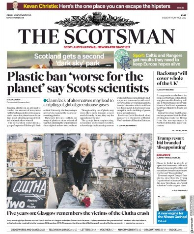 The Scotsman Newspaper Front Page (UK) for 30 November 2018
