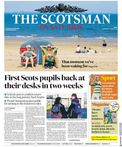 The Scotsman Newspaper Front Page (UK) for 30 May 2020