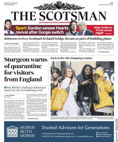 The Scotsman Newspaper Front Page (UK) for 30 June 2020