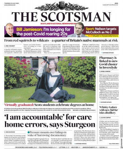 The Scotsman Newspaper Front Page (UK) for 30 July 2020
