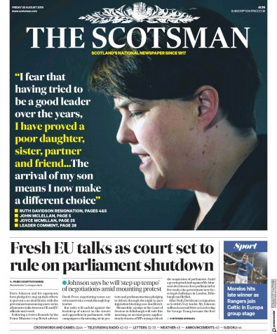 The Scotsman Newspaper Front Page (UK) for 30 August 2019