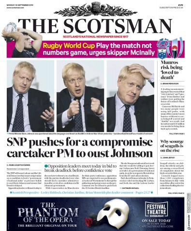 The Scotsman Newspaper Front Page (UK) for 30 September 2019
