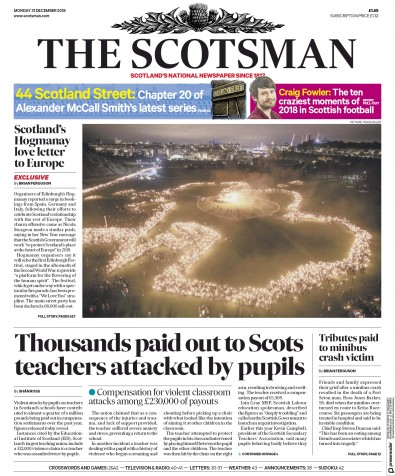 The Scotsman Newspaper Front Page (UK) for 31 December 2018
