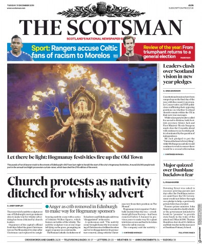 The Scotsman Newspaper Front Page (UK) for 31 December 2019