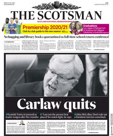 The Scotsman Newspaper Front Page (UK) for 31 July 2020