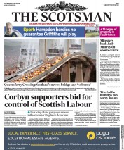 The Scotsman (UK) Newspaper Front Page for 31 August 2017