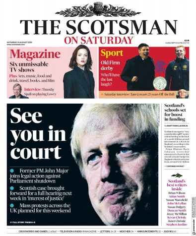 The Scotsman Newspaper Front Page (UK) for 31 August 2019