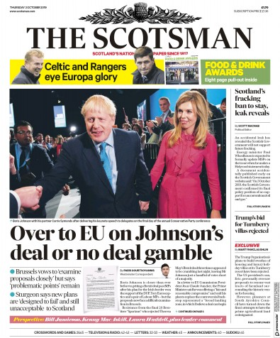 The Scotsman Newspaper Front Page (UK) for 3 October 2019