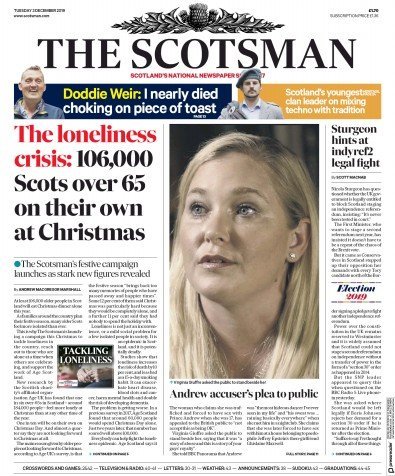 The Scotsman Newspaper Front Page (UK) for 3 December 2019