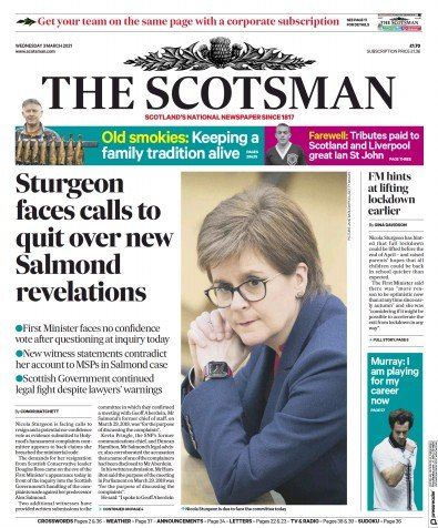 The Scotsman Newspaper Front Page (UK) for 3 March 2021