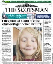 The Scotsman (UK) Newspaper Front Page for 3 July 2018