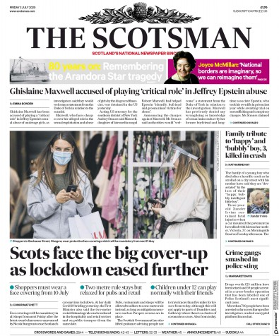 The Scotsman Newspaper Front Page (UK) for 3 July 2020