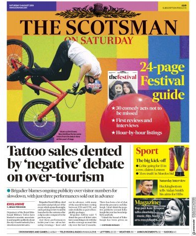 The Scotsman Newspaper Front Page (UK) for 3 August 2019