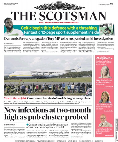 The Scotsman Newspaper Front Page (UK) for 3 August 2020
