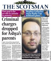 The Scotsman (UK) Newspaper Front Page for 3 September 2014