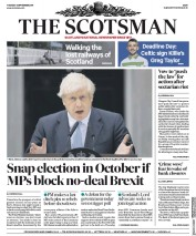 The Scotsman (UK) Newspaper Front Page for 3 September 2019