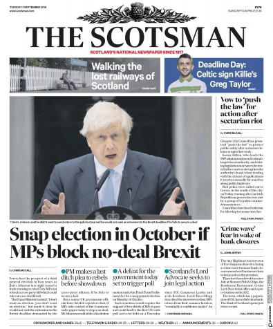 The Scotsman Newspaper Front Page (UK) for 3 September 2019
