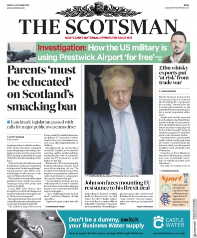The Scotsman Newspaper Front Page (UK) for 4 October 2019