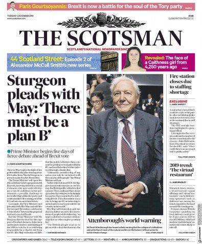 The Scotsman Newspaper Front Page (UK) for 4 December 2018