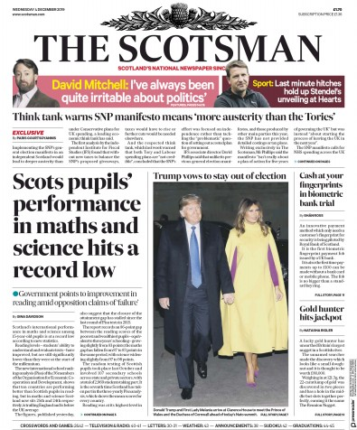 The Scotsman Newspaper Front Page (UK) for 4 December 2019