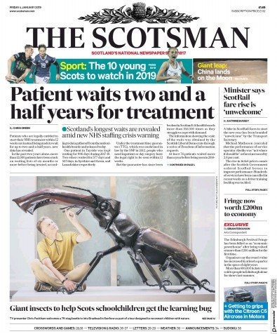 The Scotsman Newspaper Front Page (UK) for 4 January 2019