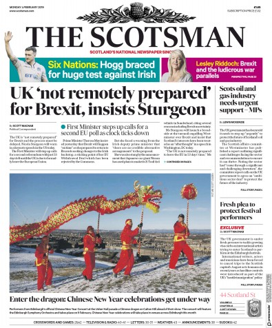 The Scotsman Newspaper Front Page (UK) for 4 February 2019