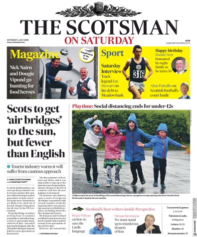 The Scotsman Newspaper Front Page (UK) for 4 July 2020