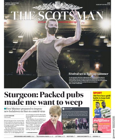 The Scotsman Newspaper Front Page (UK) for 4 August 2020