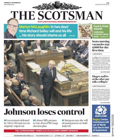 The Scotsman Newspaper Front Page (UK) for 4 September 2019