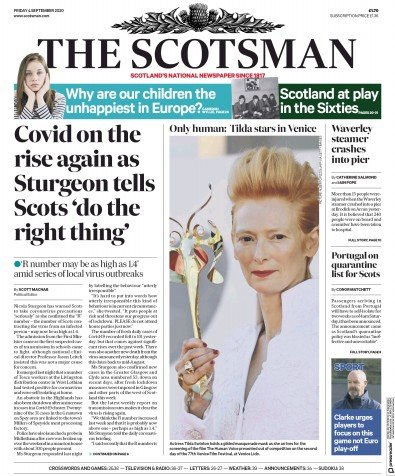 The Scotsman Newspaper Front Page (UK) for 4 September 2020