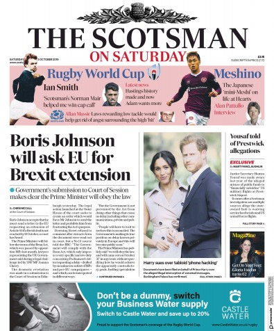 The Scotsman Newspaper Front Page (UK) for 5 October 2019