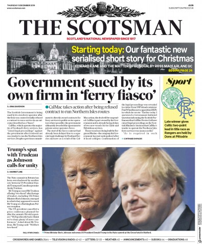 The Scotsman Newspaper Front Page (UK) for 5 December 2019