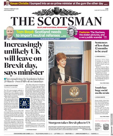 The Scotsman Newspaper Front Page (UK) for 5 February 2019